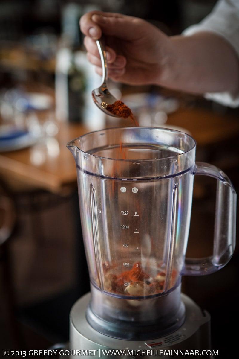 Pouring paprika