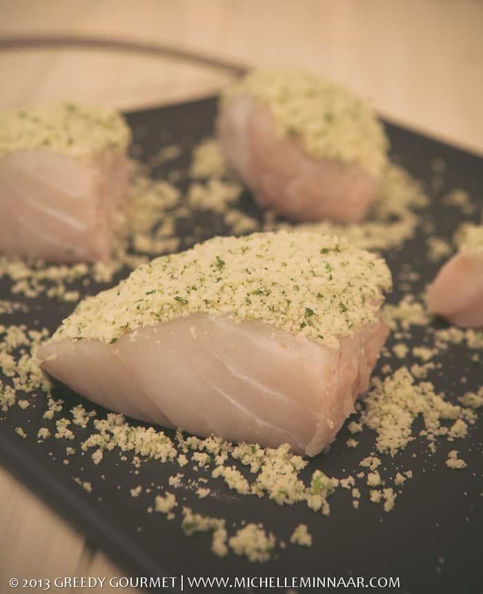 Raw cod with crust