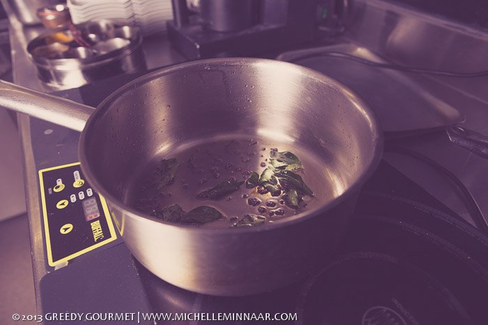Frying Curry Leaves Mustardseeds