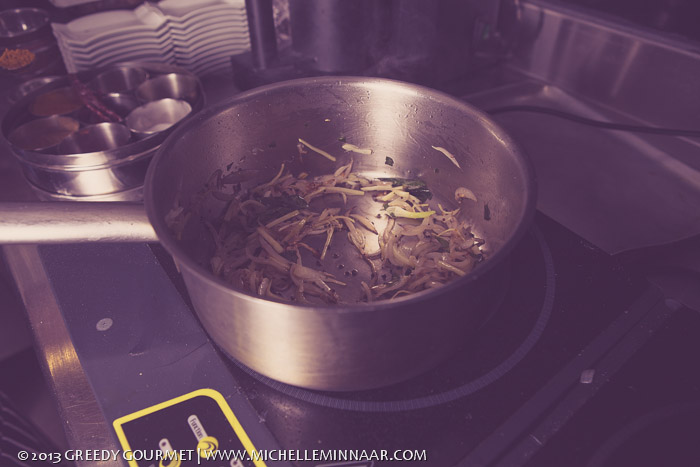 Frying vegetables for the Curry