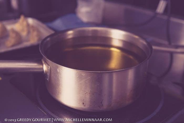 Pot full of frying oil