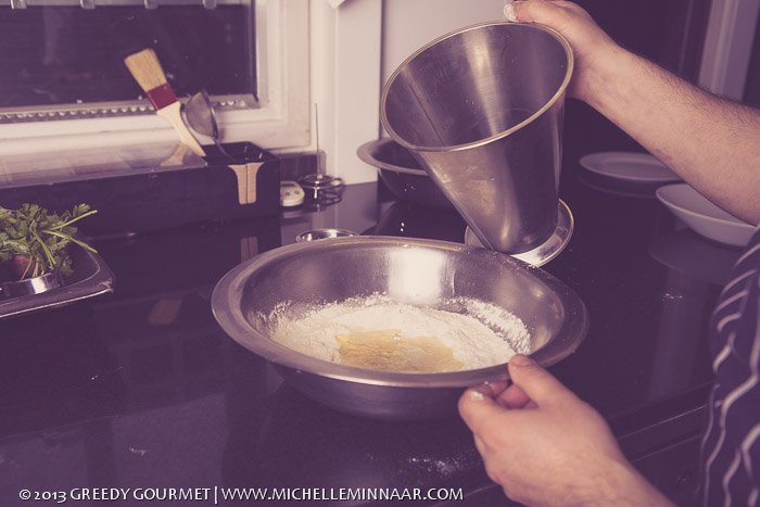 Stirring samosa ingredients