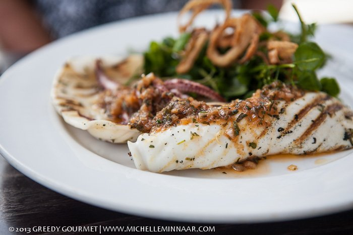 Calamari Steaks with Tomato Relish