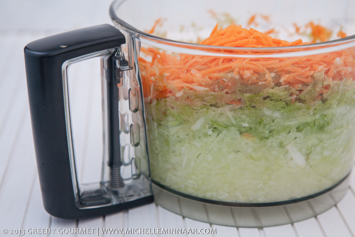 Layers of Grated onions, garlic, celery and carrots