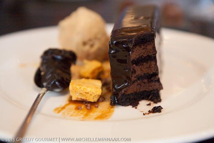 Chocolate marquis, honeycomb, salted caramel ice cream