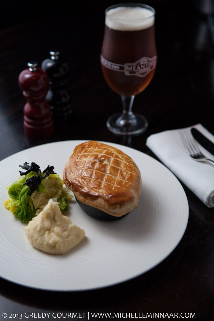 Chicken pie, cabbage, mash & beer