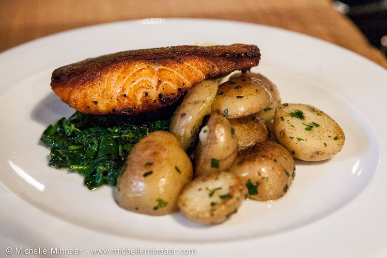 Crispy Salmon with Potatoes and Spinach