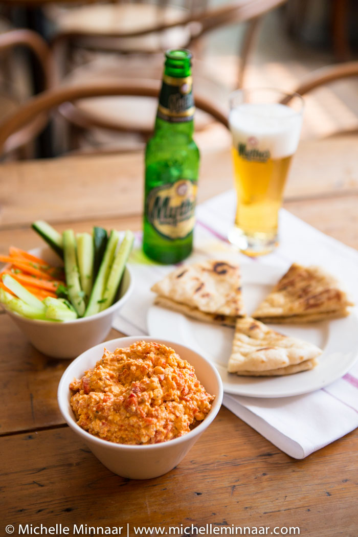 Htipiti with Crudites, Flatbread and Beer