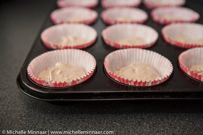 Cupcake batter ready for oven