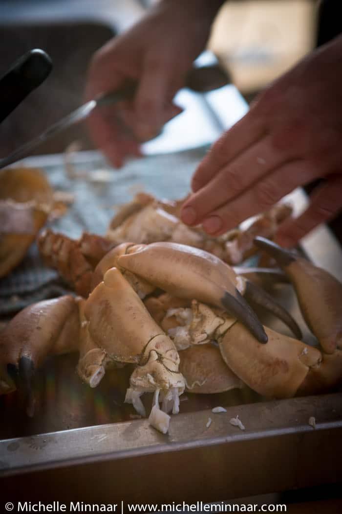 Smashed crab legs