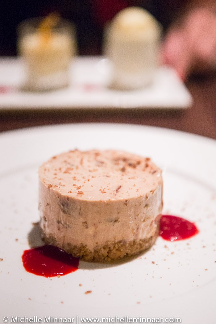 Mars Bar Cheesecake & Berry Coulis