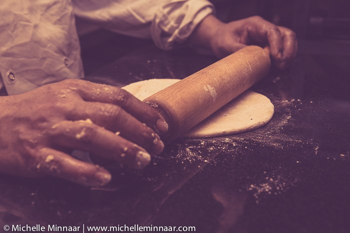 Preparing Indian bread dough