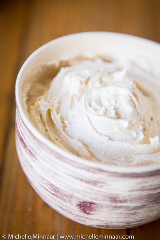 A bowl of cream cheese icing