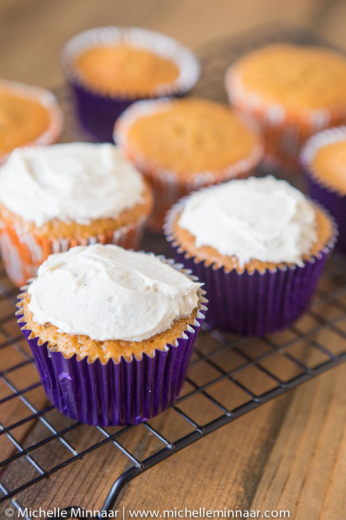 Cream cheese frosted cupcakes