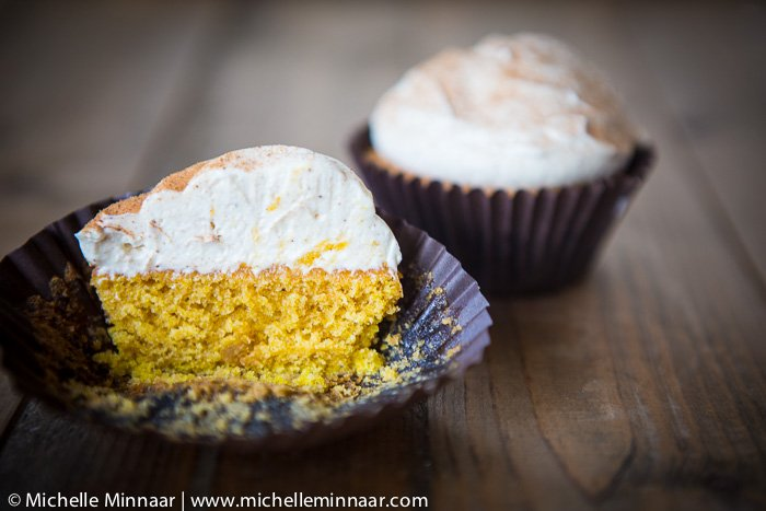 Pumpkin cupcakes and cream cheese icing