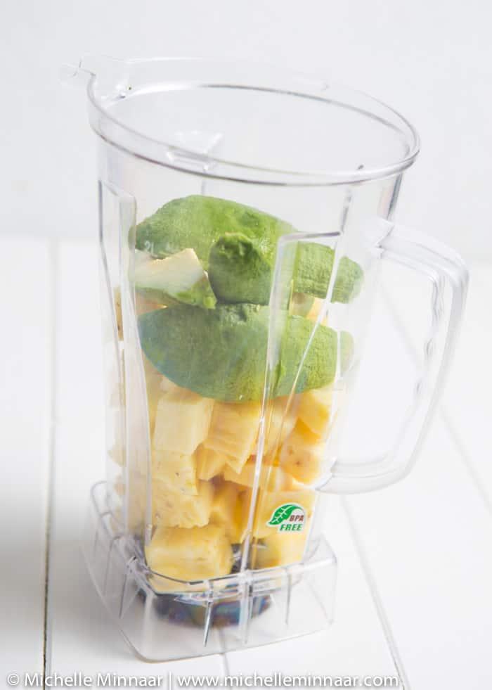 Pineapple & Avo in the blender