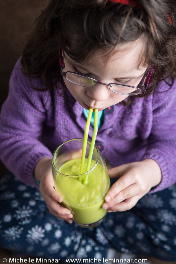 Girl Drinks Smoothie