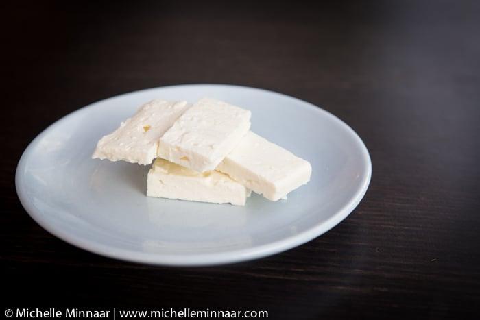 Feta on a White Plate