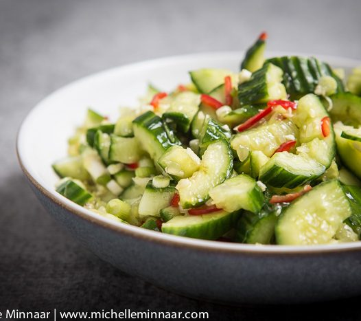Summery spicy cucumber salad