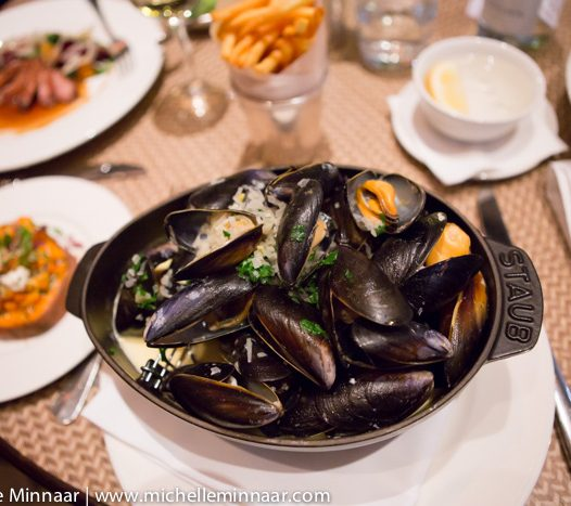 A big pot of mussels