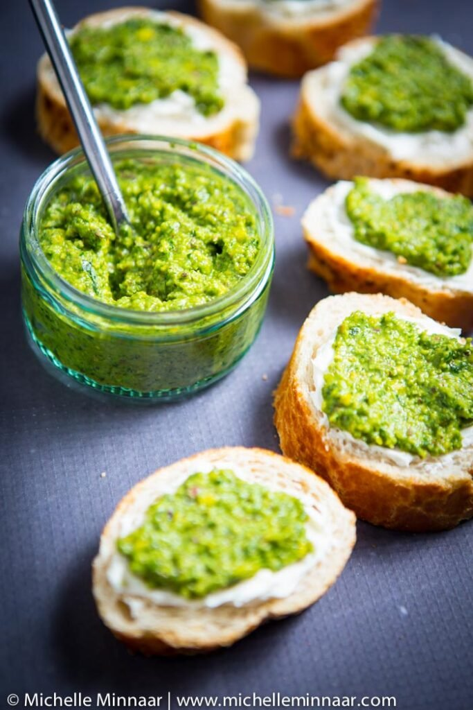 Bread with Cream Cheese and Pesto