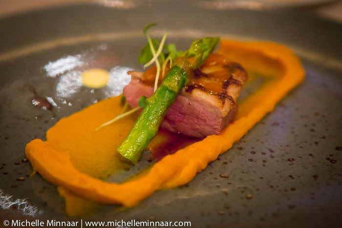 Duck breast with sweet potato puree and orange jus