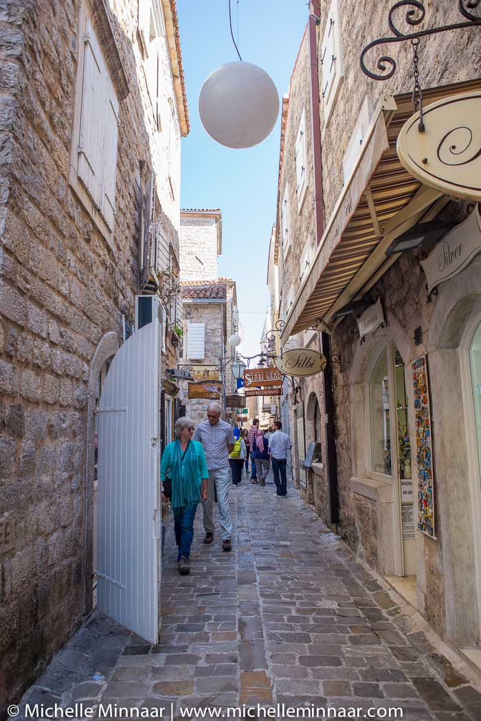Narrow street with shops