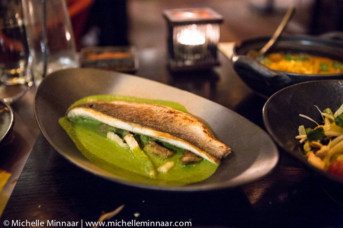 Green sea bass curry with eggplant