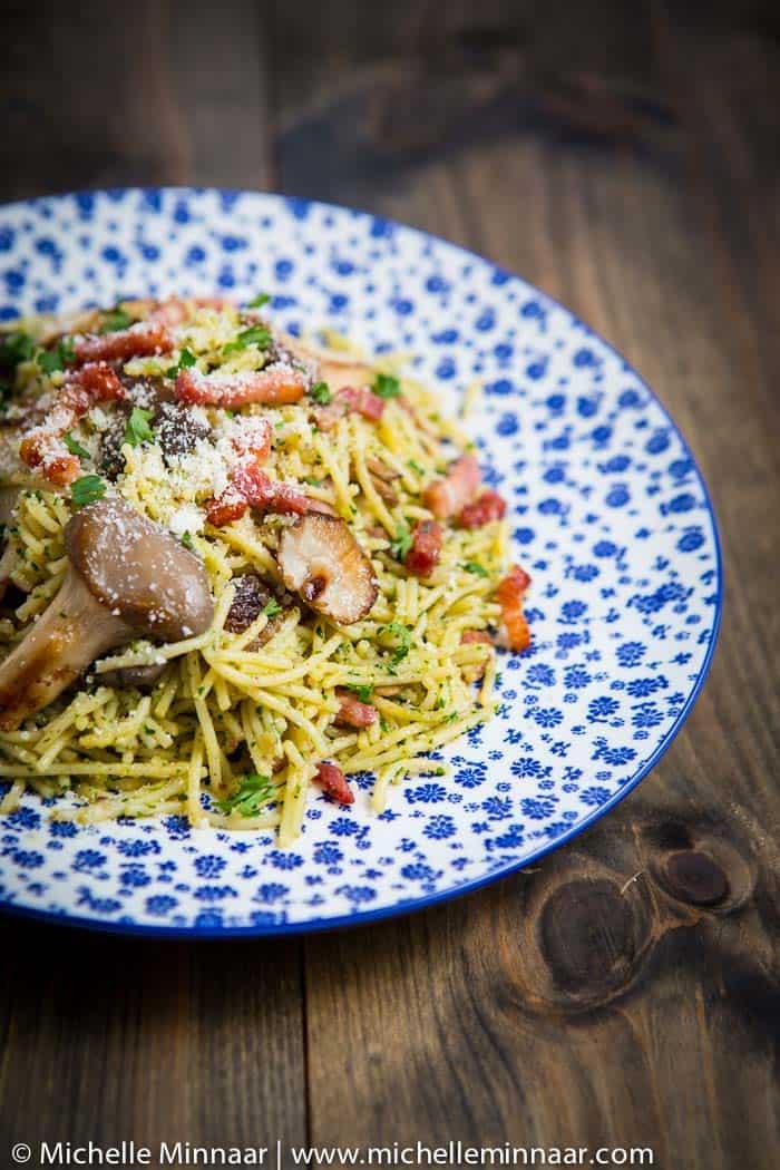 Mushroom, Bacon & Chestnut Pesto Pasta