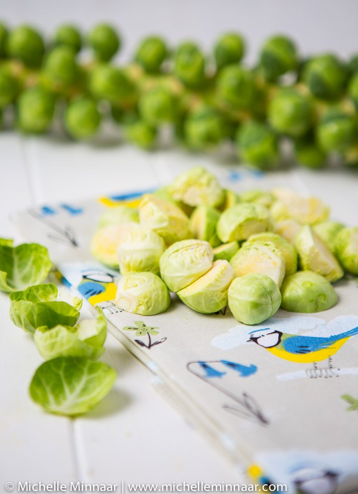 Halved, whole and peeled brussels sprouts