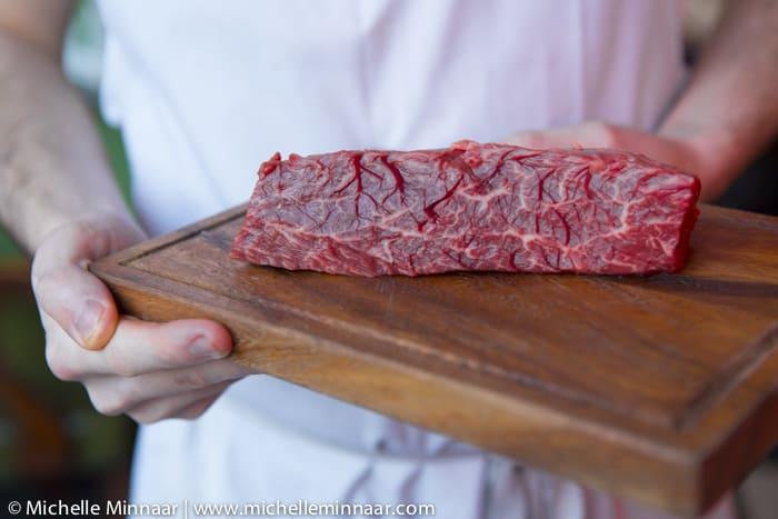 Meat on chopping board