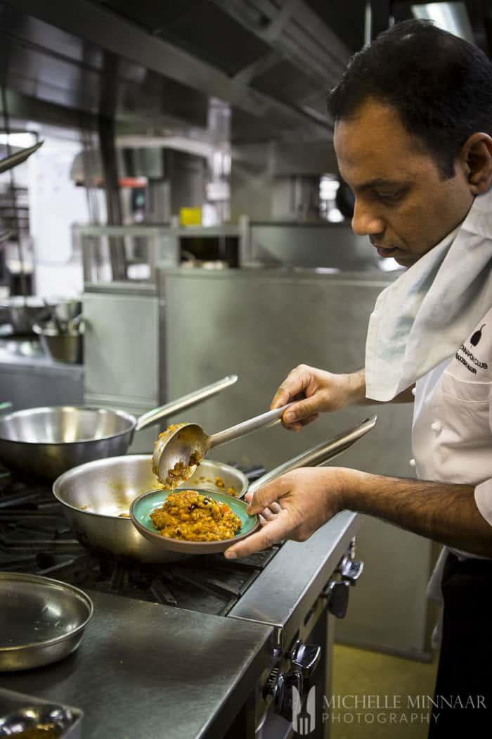 Chef working in restaurant kitchen