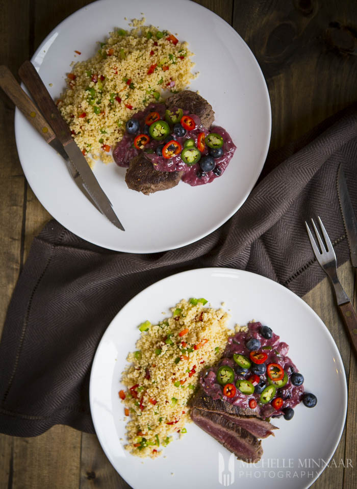 Ostrich and pepper couscous