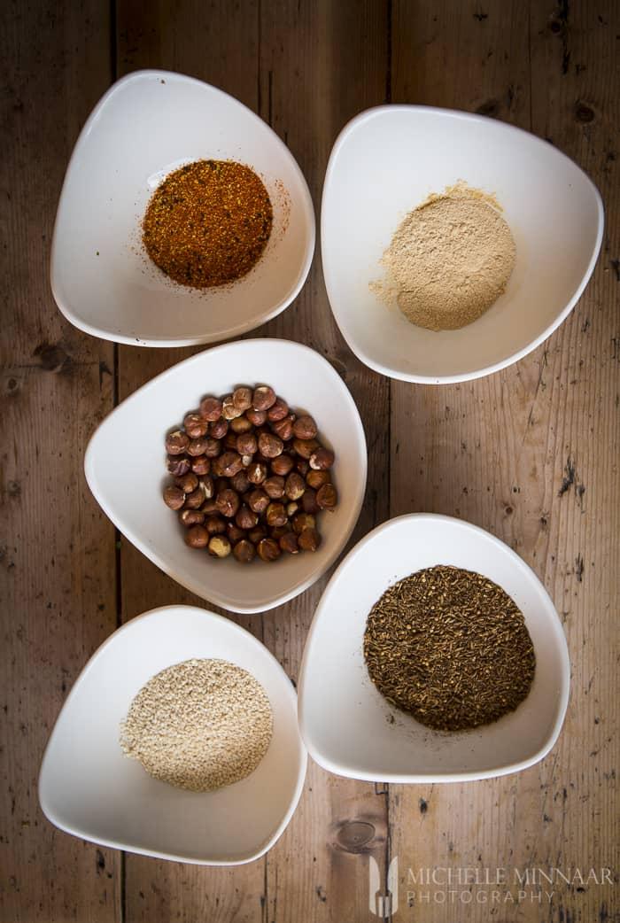 Dukkah ingredients