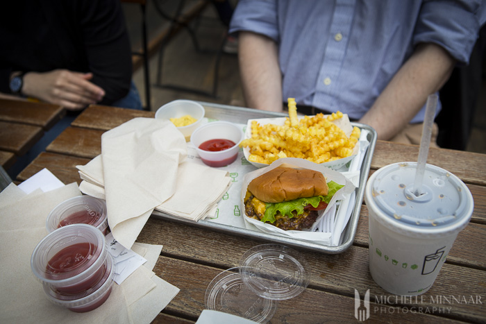 Burger, fries and ketchup