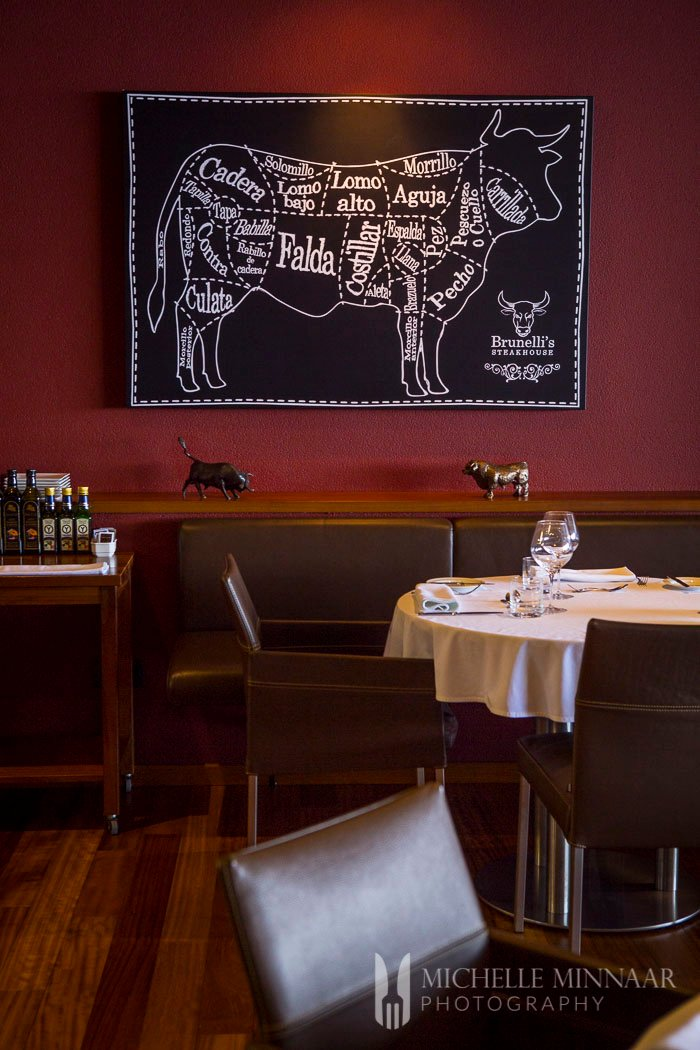 The interior of Brunelli's Steakhouse, a rendering of parts of a cow and red wall
