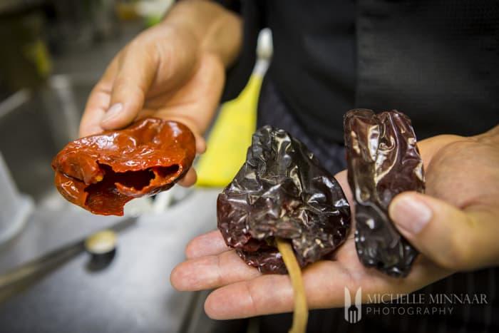 Peeling Dried Peppers