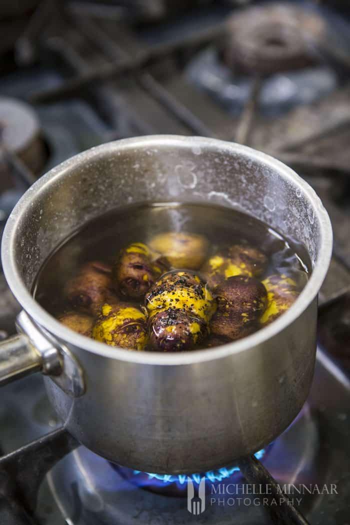 Cooking potatoes in pot