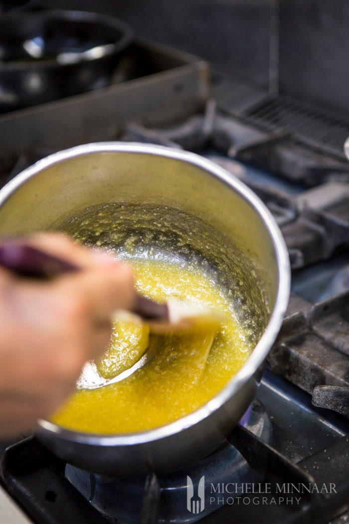 Stirring all ingredients together