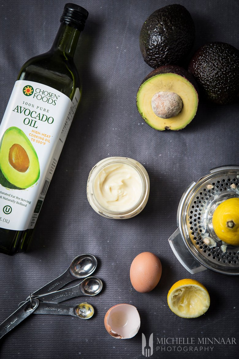 A bottle of avocado oil and the jar of mayo