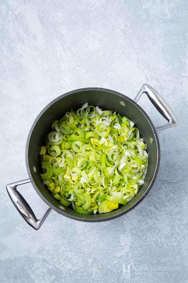 Raw leeks in a sauce pan