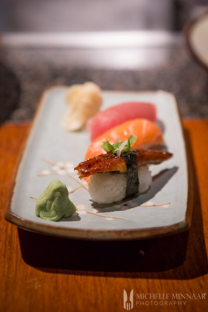 Sushi, wasabi and pickled ginger