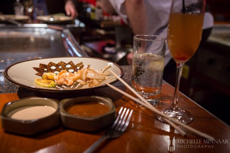 Japanese fried prawns dish