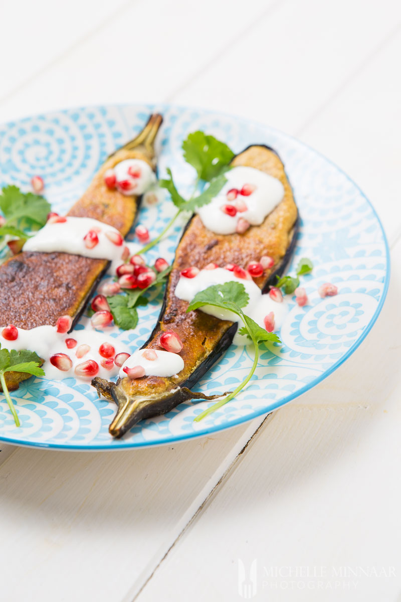 Pomegranate Masala Grilled Aubergine Yogurt