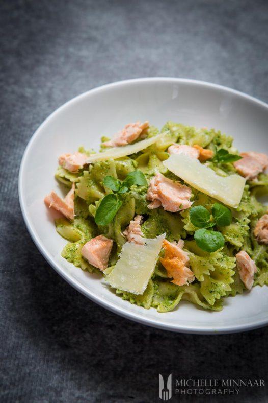 Salmon Pasta Watercress Pesto