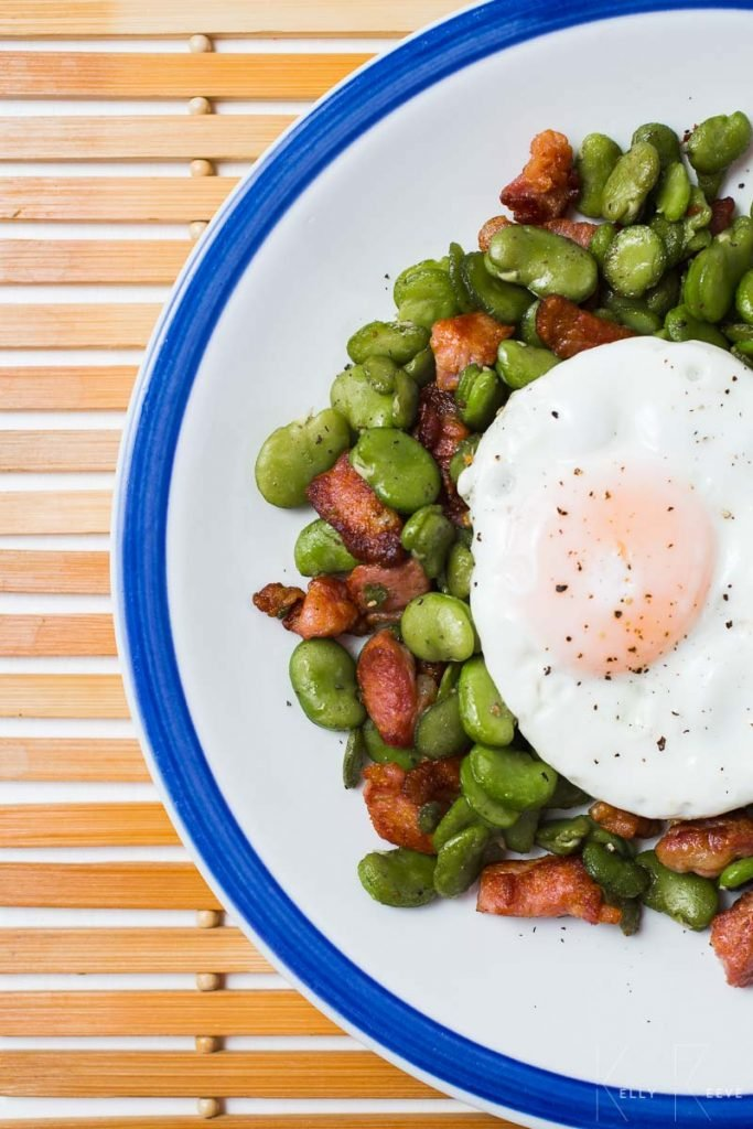 Fried Egg Broad Beans Bacon