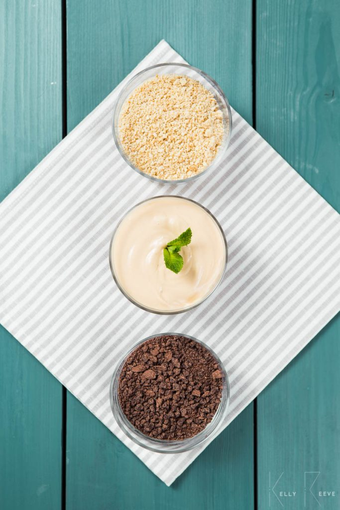 Three bowls of ingredients to make a peppermint crisp tart