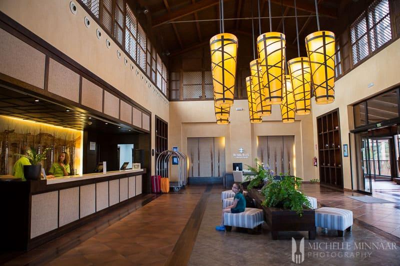 Spacious 5-star hotel foyer
