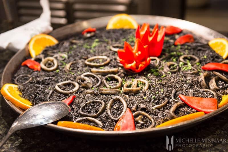 Black rice and calamari