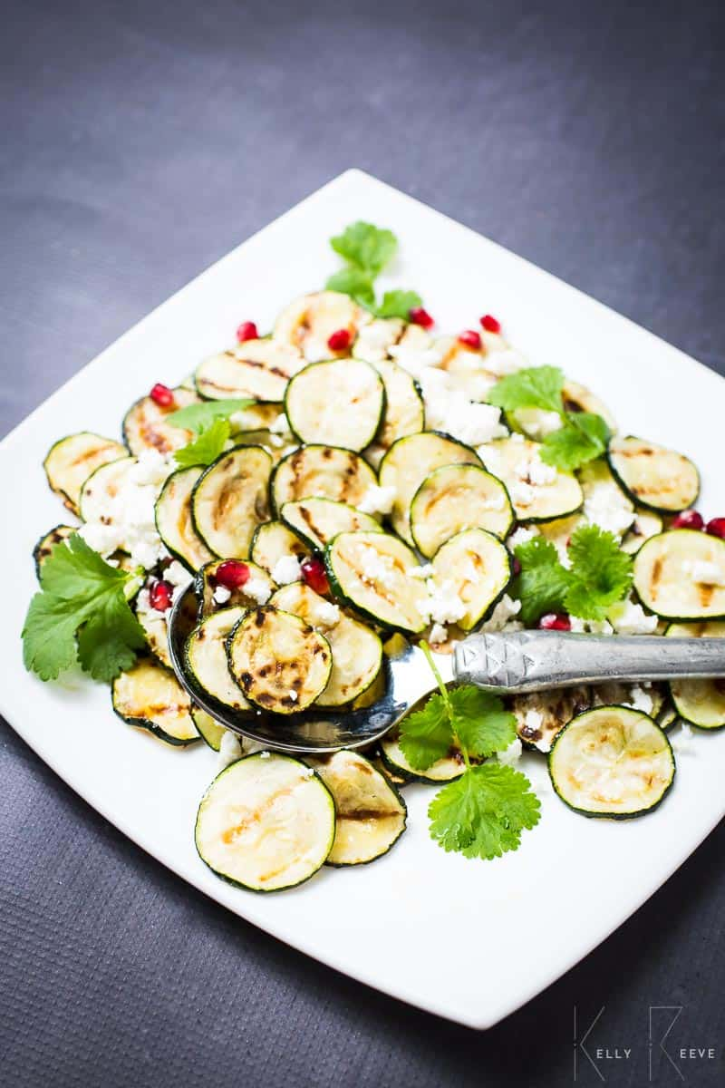 Pomegranate Courgette Salad Feta
